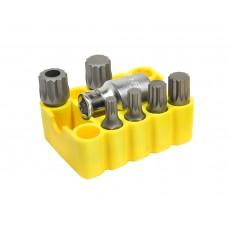 Набор битов 12-лучевых 6 пр., (10мм, M6-14, MM16, L=30мм) + держатель бита, Cr-Mo (S2), в рез. касете