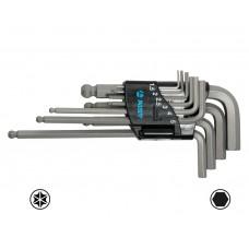 Набор ключей Г-обр. шестигран. 10 пр., стандартные, двухфункциональные с шаровидным приводом, (Н1.5-Н10), S2, в держателе