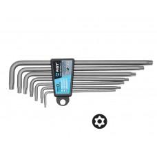 Набор ключей Г-обр. TORX с отверстием под штифт 7 пр., экстрадлинные, (TT10-TT40), S2, в держателе