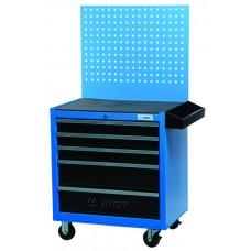 Тележка для инструмента 5-ти секционная выдвижная, голубая, 680х460х655мм, с перфорированной задней панелью