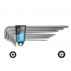 Набор ключей Г-обр. TORX с отверстием под штифт 7 пр., экстрадлинные, двухфункциональные с шаровидным приводом (TT10-TT40), S2