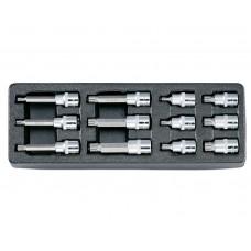 """Набор головок-битов 12 предметов, (1/2"""", 12-лучевая, 6-16 мм), в ложементе 137х390 мм"""