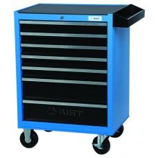 Тележка для инструмента 7-ми секционная выдвижная, голубая, 680х460х810мм