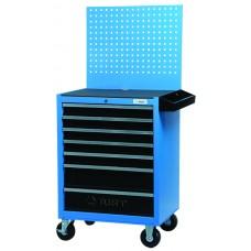 Тележка для инструмента 7-ти секционная выдвижная, голубой, 680х460х810мм, с перфорированной задней панелью