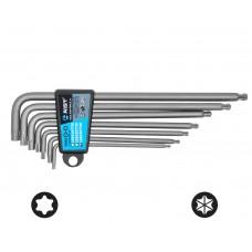 Набор ключей Г-обр. TORX 7 предметов, экстрадлинные, двухфункциональные с шаровидным приводом, (T10-T40), S2, в держателе