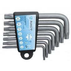 Набор ключей Г-обр. TORX 7 пр., с отверстием под штифт., стандартные, (T10-T40), S2, в держателе