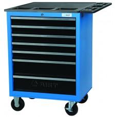 Тележка для инструмента 7-ми секционная выдвижная со столешницой, голубая, 680х460х810мм