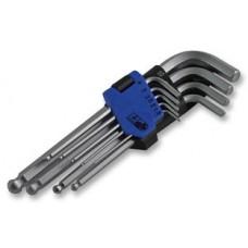 Набор ключей Г-обр. шестигр. 9 пр., экстрадлинные, двухфункциональные с шаровидным приводом, (Н1.5-Н10), S2, в держателе