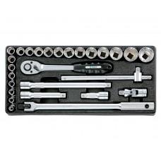 """Набор инструмента 27 предметов, (1/2"""", 6-гр., 8-32 мм), в ложементе 197х420 мм"""