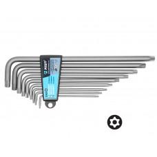 Набор ключей Г-обр. TORX с отверстием под штифт 9 пр., экстрадлинные, (TT10-TT50), в держателе