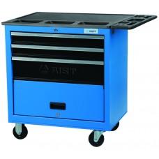 Тележка для инструмента 4-х секционная выдвижная, голубая, 680х460х655мм