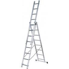 Лестница трехсекционная алюминиевая, 3х9 ступеней, H=257/449/641 см, вес 11,18 кг