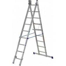 Лестница двухсекционная алюминиевая, 2х9 ступеней, H=257/449 см, вес 7,34 кг