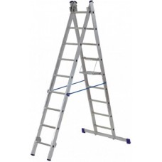 Лестница двухсекционная алюминиевая, 2х10 ступеней, Н=282/478 см